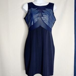 Alt B navy blue sheer illusion mini dress L